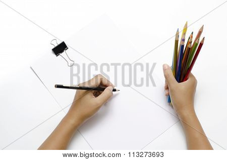 Hand Writing On Blank Paper