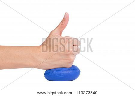 Hands Of A Woman Pressing A Stress Ball