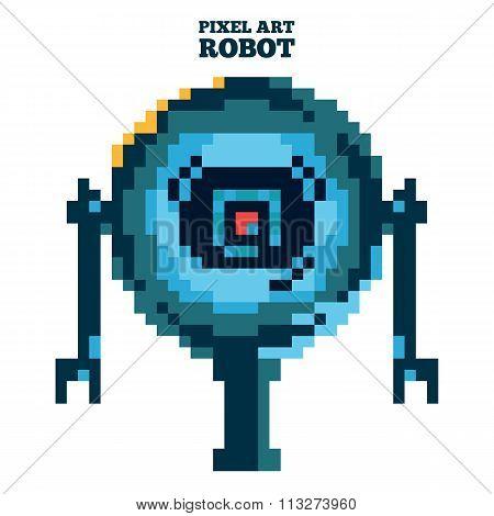 vector pixel art blue robot