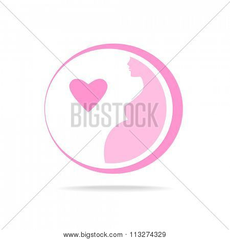 Pregnant sign - vector template. Idea for logo.   Pregnant woman,  pregnancy,    pregnant belly,  mother.