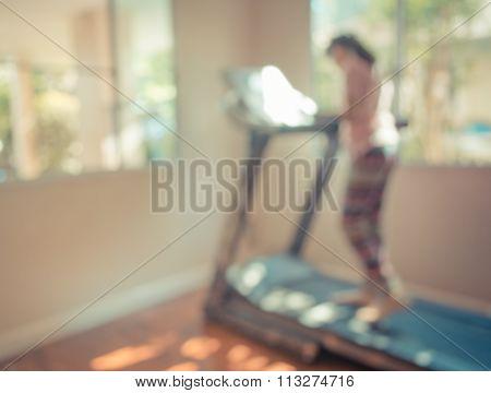 Cute Girl Running Treadmill At Home