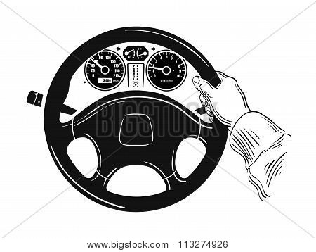 control of the car. hand on car steering wheel. sketch