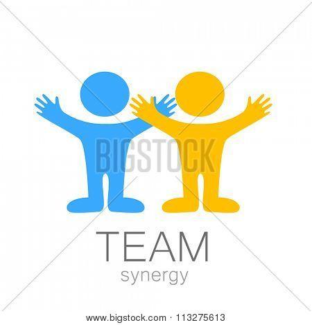 Team sign - vector template. Idea for  logo,  sports logo,  team icon,  group logo,  sports team logo,  people logo.