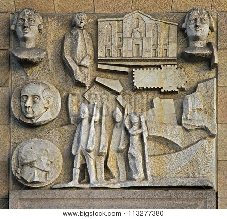 bas-relief on the wall in center of Milan