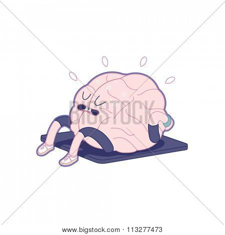 Train your brain series - outlined vector illustration of brain activity, sit ups. Part of a Brain collection.