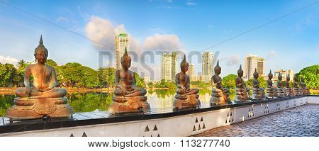 Seema Malaka temple on Beira Lake. Colombo, Sri Lanka. Panorama