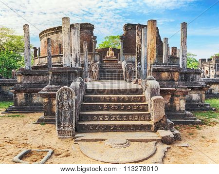The Polonnaruwa Vatadage in the world heritage city Polonnaruwa, Sri Lanka.