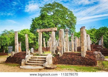 The Polonnaruwa Atadage in the world heritage city Polonnaruwa, Sri Lanka.