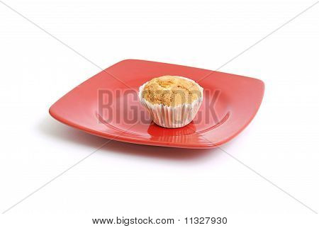 Fruitcake On A Red Plate