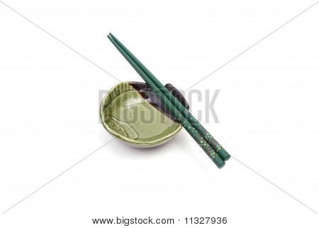 Chopsticks On Plate