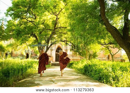 Two little playful Buddhist novice monks running outdoors under shade of green tree, outside monastery, Myanmar.