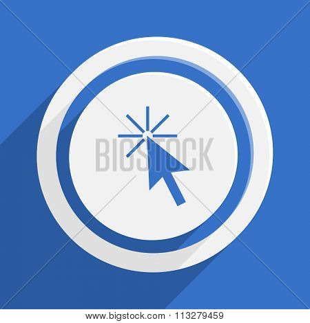 click here blue flat design modern vector icon for web and mobile app