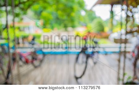 Image Of Blur Bicycle Parking Area With Bokeh