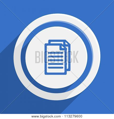 document blue flat design modern vector icon for web and mobile app