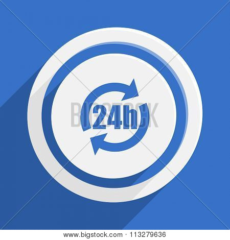 24h blue flat design modern vector icon for web and mobile app