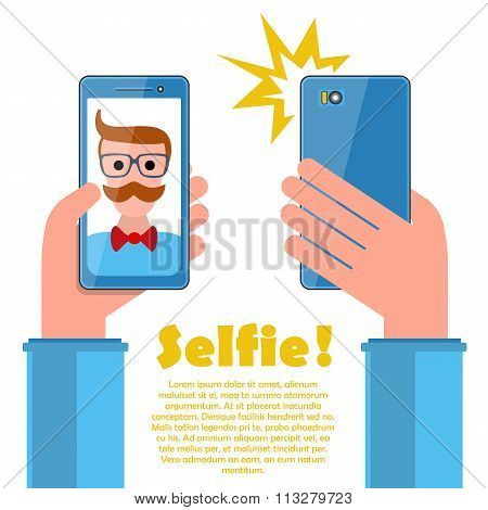 Selfie Poster With Hipster Holding Smartphone Vector.