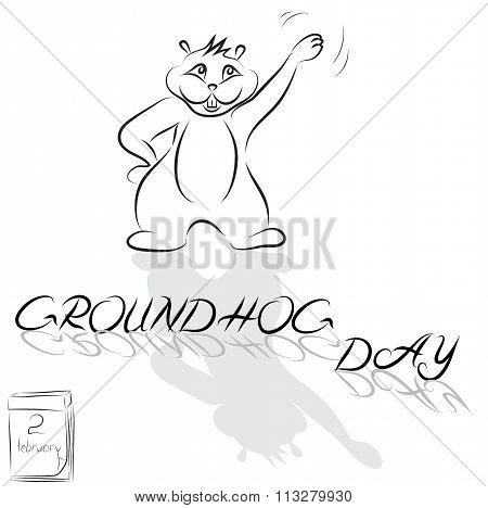 Groundhog Drawn From The Lines And The Words Groundhog Day