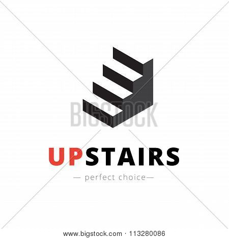 Vector isometric stairs logo. Brand sign