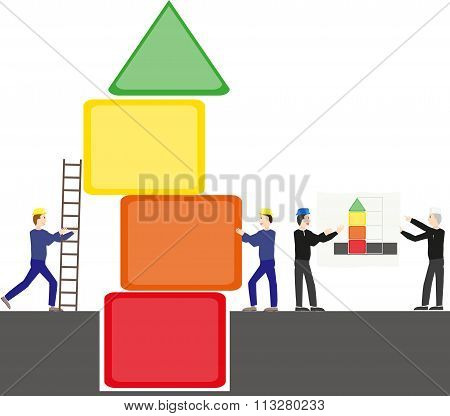 Men Building A Colorful Tower