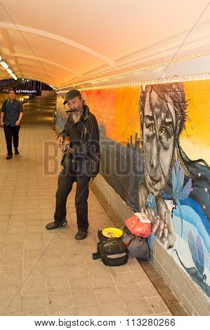 Singapore-jun 14, 2015 :street Musician Playing Guitar, Mount Organist In The Passage Under The Brid