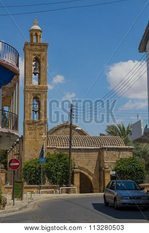 Nicosia, Cyprus – June 22 2015:  Bell Tower Of The Ancient Church In Nicosia, Cyprus.