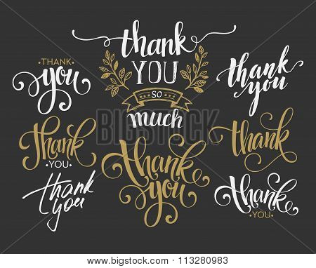 Set of custom THANK YOU hand lettering. Vector illustration