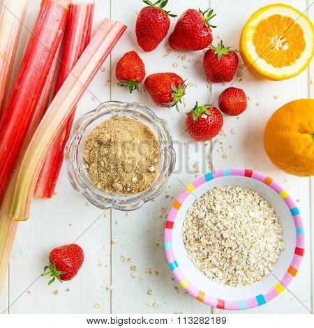 Rhubarb, Strawberries, Brown Soft Sugar, Porridge Oats, Orange