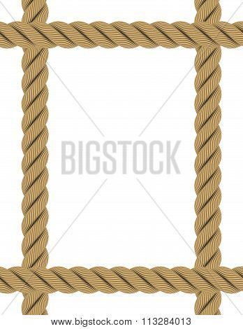 Extended A4 Rectangular Rope Frame Isolated On White
