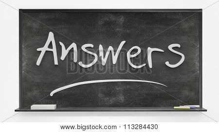 'Answers' written on blackboard