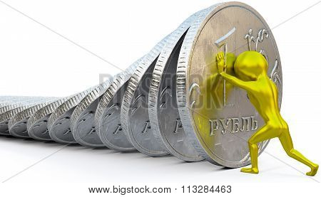 Golden man restrains the fall of ruble coin