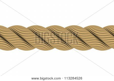 Seamless Tileable 3D Rope Illustration Isolated On White Background