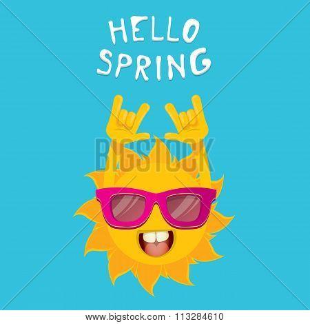 sun hand rock n roll icon vector . Spring