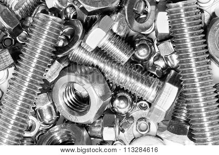 Industrial strong steel nuts bolts and washers mixture