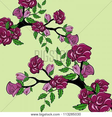 Sprig of rose flowers