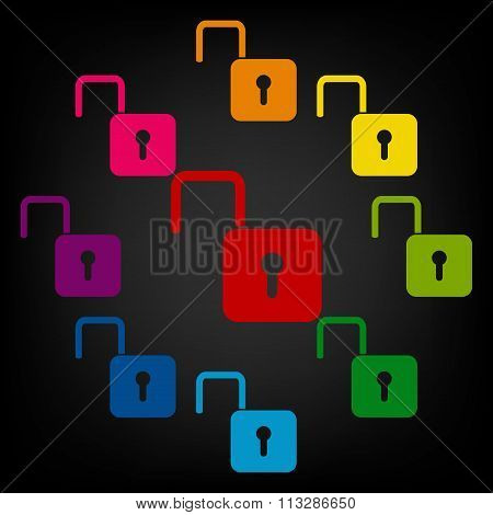 Unlock icon - vector illustration