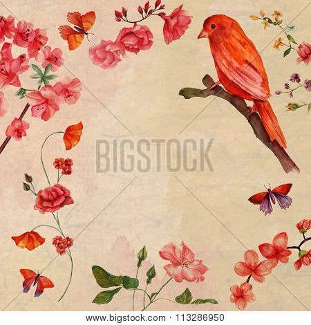Vintage style collage card with distressed background, bright watercolour bird and watercolour roses