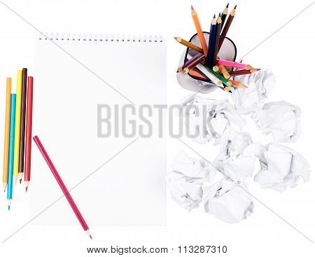 Paper with crumpled paper balls