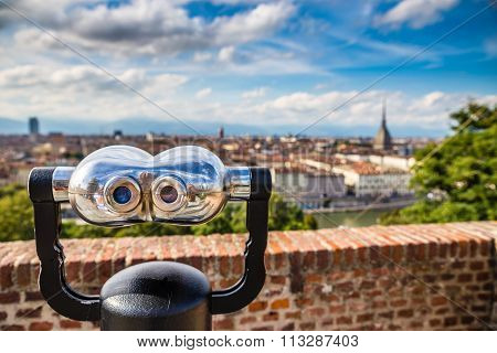 Binoculars And Turin City Centre Behind-turin,italy