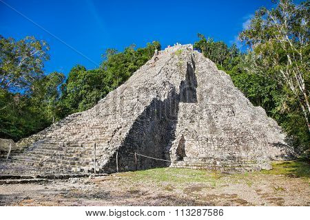Nohoch Mul, tallest Mayan pyramid in the Yucatan, Mexico.