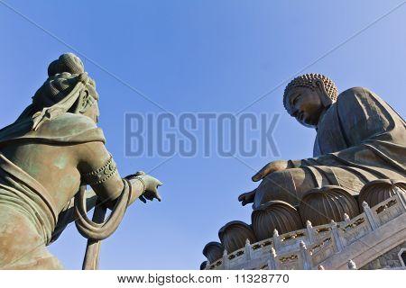 Big Buddha and Fairly at Po Lin Monastery in Hong Kong