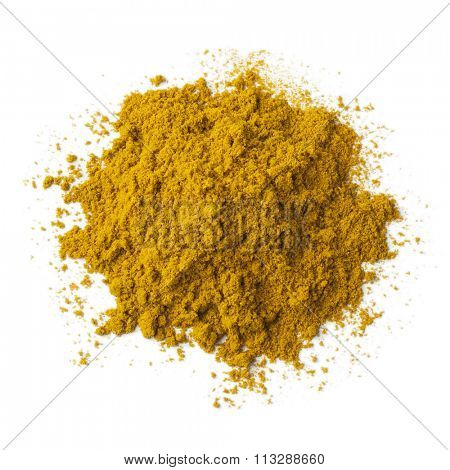 Heap of ground Garam masala powder on white background