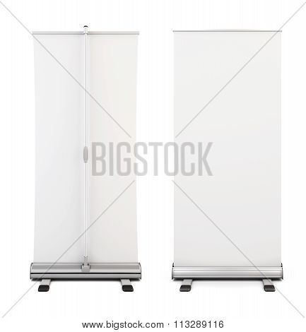Roll Up Banner Isolated On White Background. Two Blank Roll Up Display Banner Front And Back View. 3