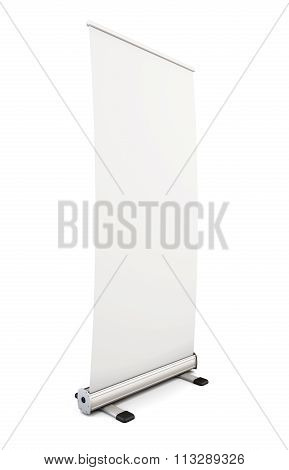 Blank Roll Up Banner Display Isolated On White Background. Template Advertising Stand For Your Desig