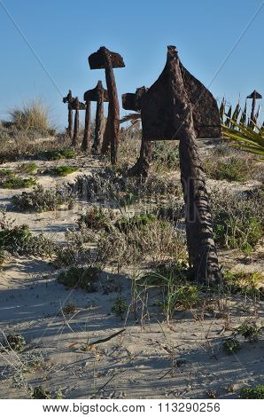 Anchor cemetery at Praia do Barril