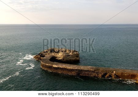 Breakwater In Biarritz, France