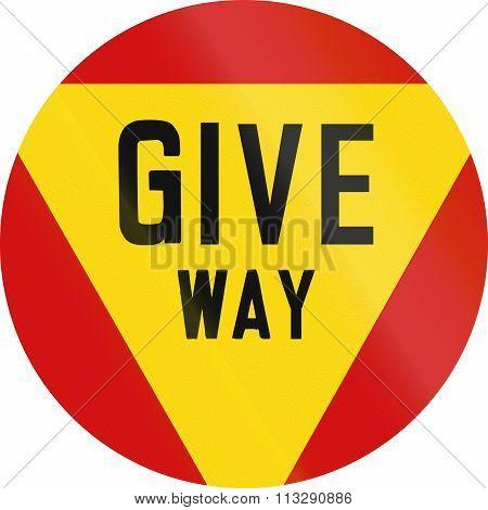 Regulatory Road Sign In Zimbabwe - Give Way