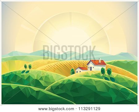Summer countryside landscape with village. Sunrise.