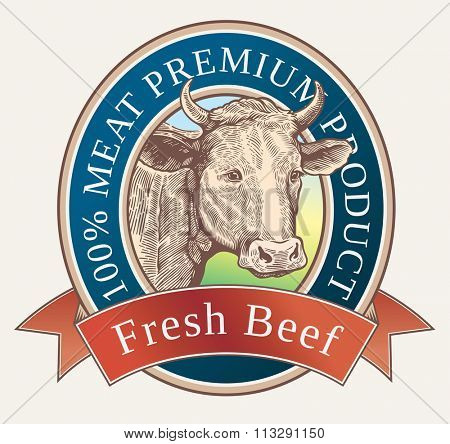 Graphic cow is depicted in the style of engraving. Label design.
