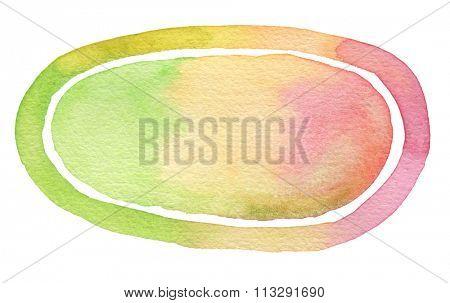 Ellipse watercolor painted background. Paper texture.