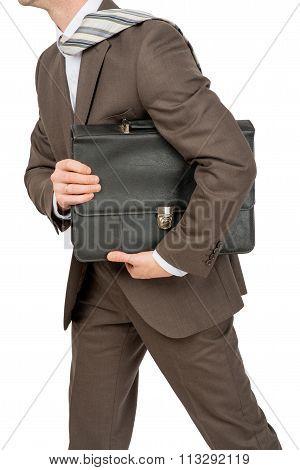 Businessman holding suitcase